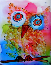 "Giclee PRINT aceo 2.5x3.5"" Baby Owlet colorful limited edition by L Kohler"