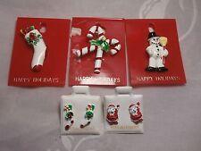 VINTAGE ENAMEL METAL CHRISTMAS JEWELRY 3 BROOCHES & 2 PAIR EARRINGS MINT COND.