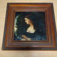 Superbe tableau XIXème peintre victorien pré-raphaelite tondo huile sur toile