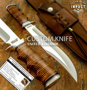 IMPACT CUTLERY RARE CUSTOM D2  BOWIE KNIFE STACKED LEATHER HANDLE