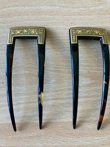Vintage Pair of Faux Tortoiseshell Hair Slides with Gold Embossed Decoration