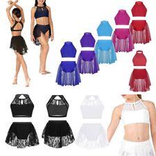 Girls Lyrical Dance Mock Neck Leotard Dress Ballet Crop Top+Bottoms Set Costume