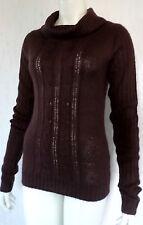 Gestrickter Damen Pullover  Longpullover Rollkragen Acryl Braun Gr.34/36  NEU