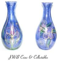 Pair Of Hand painted Glass Vases - Flower Design