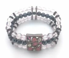 Magnetic Bracelet Hematite Bead Pink Crystal Stone Healing Therapy Stretchable