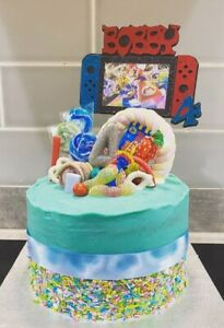 """NINTENDO SWITCH 6"""" CAKE TOPPER - PERSONALISED NAME, AGE & GAME IN THE SCREEN!"""