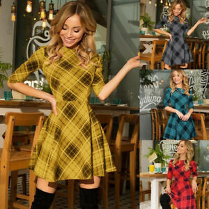 Womens Plaid Checked Mini Dress Ladies Evening Party Casual Swing Skater Dresses