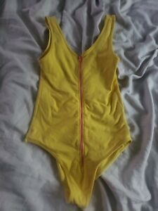 Sexy Rare American Apparel Vtg Yellow Pink Leotard Onepiece Zip Small