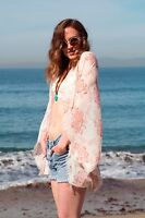 Boho Pink Creme Paisley Kimono Cocoon Blouse Beach Cover-up coverup summer Top