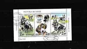 "#3656=Sweden 1989 used souvenir sheet ""DOGS"""