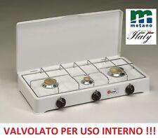 FORNELLO A GAS METANO VALVOLATO 3 FUOCHI -- GRIGLIA CROMATA A NORMA USO INTERNO