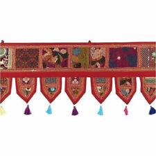 "70""  Red Decorative Door Topper Valance Handmade Sari Patchwork Window Toran"