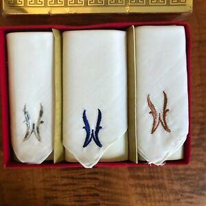 New Vintage Set Paris Classic Men's Monogram W Handkerchiefs Initial W Free Ship