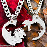 Lion and Lioness Necklace set, interlocking couples jewelry, hand cut coin