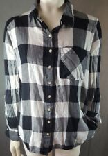 Womens Juniors sz L Girl Krazy Boyfriend Hi Lo Plaid Shirt black pocket  318-s19