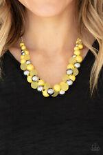 Paparazzi jewelry Bubbly Brilliance Yellow Silver Bead Necklace New