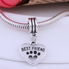 2pcs Silver Heart Best Friend Dog Paw Pendant Beads Fit European Charms Bracelet