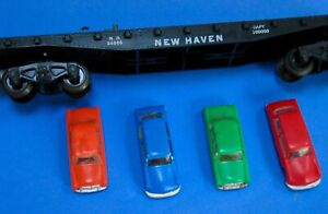 American Flyer used Black 24566 auto transport New Haven flatcar nice 4 autos RO