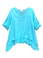 VTG La. Fixsun Tunic Top 100 Linen Agua Blue Shark Bite Layered Hem Lagenlook XL