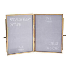 Double Sided Photo Frame Glass & Metal Picture Holder Freestanding Vintage Style