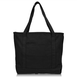 """DALIX 20"""" Solid Color Cotton Canvas Shopping Tote Bag (Exclusive Edition)"""