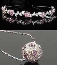 SOLDE demoiselle d'honneur mariage violet cristal fleur bandeau TIARE W Collier