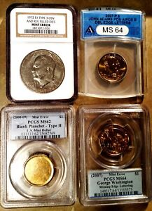 """5 HARD TO FIND DOLLAR US ERROR """"SLABBED"""" COINS -  PCGS, ANACS, NGC"""