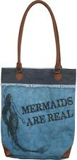 NEW!~Mermaids Are Real Canvas Tote Bag~Purse/Beach Chic/Ocean Shabby