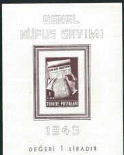 Turkey Stamps 933 Mi Mi Block3 1 L Chocolate S/S Census  MNH VF 1945 SCV $75.00