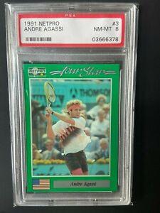 1991 NETPRO TOUR STAR #3 ANDRE AGASSI RC ROOKIE CARD PSA 8 NM-MT QTY