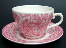Broadhurst Red Pink Constable Pattern 200ml Tea Cups & Saucers - Look in VGC