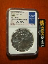 2011 W BURNISHED SILVER EAGLE NGC MS70 VERY RARE EDMUND MOY SIGNED LOW POP!