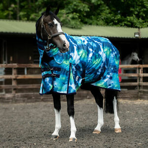Derby House Print Tie Dye Medium Lite Combo Horse Rug Turnout - Blue All Sizes