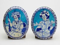 TWO ANTIQUE ISLAMIC DAMASCAN STONEWARE PLAQUES 18/19TH C.