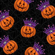 Fabric #2384 Halloween Crowned Pumpkins on Black Henry Glass Sold by 1/2 Yard