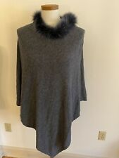 100% Cashmere Poncho Rabbit Fur Trim Grey Blue Fur Soft Warm Comfort Nepal
