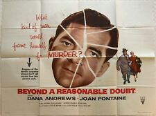 Beyond A Reasonable Doubt 1956 Quad Film Poster Dana Andrews, Joan Fontaine