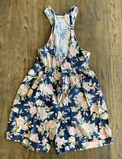 New listing Vintage 90s Floral Overalls Blue Belt Loops Size 7 Shorts