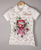 ED HARDY Women Casual Polo Neck Shirt Top T-Shirt Size L BCZ703