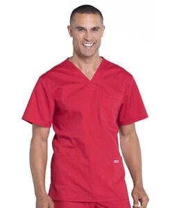 NWT Men's CHEROKEE WW695 Red Scrub Top Size 5XL