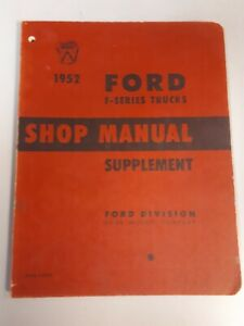 1952 Ford F Series Truck Supplement Shop Manual Repair Book Ford Technical Merc