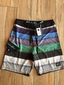 NWT Maui & Sons Blue Stripe Board Shorts Swim Trunks Size 30 - 4 Way Stretch $55