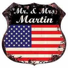BPLU0017 America Flag MR. & MRS MARTIN Family Name Sign Home Decor Gift