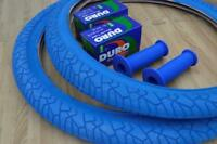 """New PAIR of 20"""" BMX Bicycle Slick BLUE Street Tires & Tubes 20X1.95 *FREE GRIPS"""