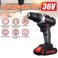 36V Sans fil Drill Double Impac 25 Vitesse LED Lumière - Batterie Li-ion