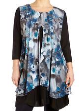 Samya Pleated Chiffon Overlay Evening Tunic Dress Blues / Black Sizes 16 & 22 20