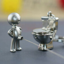 Funny Gift Mr.P Boy Urinal and His Toilet Couple Keychain Key Chain Ring Keyfob