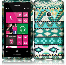 For Nokia Lumia 521 Rubberized HARD Case Snap On Phone Cover Mint Green Aztec