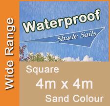 Waterproof  Shade Sail - Sand Colour Square 4m x 4m, 4x4m, 4mx4m, 4 by 4m, 4 x 4