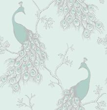NUOVO BELLE DECOR Empress PAVONE SHABBY CHIC Carta da Parati Duck Egg Blue / Teal fd40713